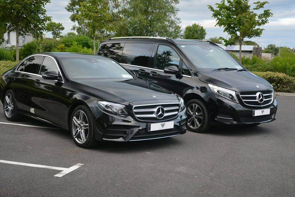 two black mercedes benz e220d and v250d chauffeur driven cars