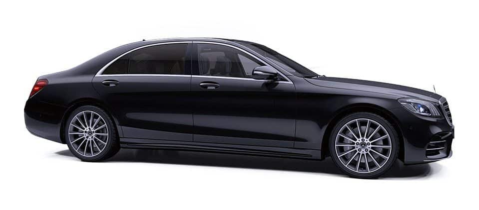 Black Mercedes-Benz S-Class S350d Premium Saloon DM Executive Line Chauffeur Car Service Ireland